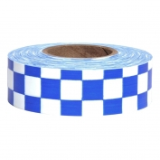 Presco CKWB Checkerboard Roll Flagging Tape - White/Blue
