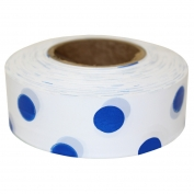 Presco PDWB Polka Dot Roll Flagging Tape - White/Blue