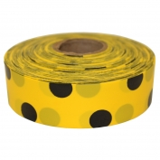 Presco PDYBK Polka Dot Roll Flagging Tape - Yellow/Black