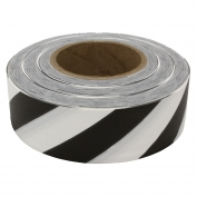Presco SWBK Striped Roll Flagging Tape - White/Black