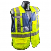 Full Source PSV-POLICE ANSI 207 Public Safety Vest - Lime & Navy