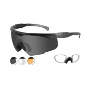 Wiley X PT-1 Safety Glasses w/ RX Insert - Matte Black Frame - Grey, Clear & Rust Lens
