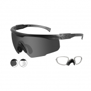 Wiley X PT-1 Safety Glasses w/ RX Insert - Matte Black Frame - Smoke & Clear Lenses