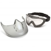 Pyramex GG504DTSHIELD Capstone Shield Goggles - Removable Face Shield - Clear Anti-Fog Dual Lens
