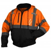 Pyramex RJ3120 Class 3 Black Bottom Bomber Jacket - Orange