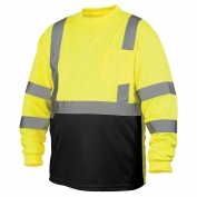Pyramex RLTS3110B Class 3 Black Bottom Moisture Wicking Safety Shirt - Yellow/Lime