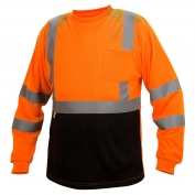 Pyramex RLTS3120B Class 3 Black Bottom Moisture Wicking Safety Shirt - Orange