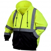 Pyramex RSZH3210 Class 3 Black Bottom Full-Zip Safety Sweatshirt - Yellow/Lime