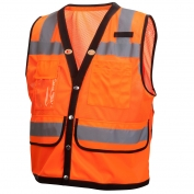Pyramex RVMS2820 Type R Class 2 Heavy Duty Surveyor Safety Vest - Orange