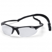 Pyramex Avante Safety Glasses - Black Frame with Cord - Clear Lens