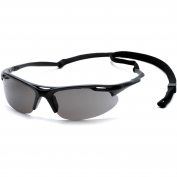 Pyramex Avante Safety Glasses - Black Frame with Cord - Gray Lens