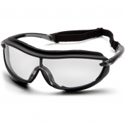 Pyramex XS3 Plus Safety Glasses - Black Foam Lined Frame - Clear Anti-Fog Lens