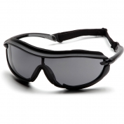 Pyramex XS3 Plus Safety Glasses - Black Foam Lined Frame - Gray Anti-Fog Lens