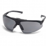 Pyramex Onix Plus Safety Glasses - Black Frame - Clear Anti-Fog Lens - Gray Flip Up Lens
