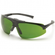 Pyramex Onix Plus Safety Glasses - Black Frame - Clear Bifocal Lens - Flip Up 3.0 IR Filter Lens