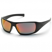 Pyramex Goliath Safety Glasses - Black Frame - Orange Mirror Lens