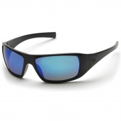Pyramex SB5665D Goliath Safety Glasses - Black Frame - Blue Mirror Lens