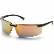 Pyramex SB6145S Surveyor Safety Glasses - Black Frame - Ice Orange Mirror Lens