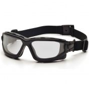 Pyramex I-Force Safety Glasses/Goggles - Black Frame - Clear Anti-Fog Lens