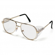 Pyramex SG310A Pathfinder Safety Glasses - Gold Metal Frame - Clear Lens