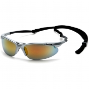 Pyramex Avante Safety Glasses - Silver Frame with Cord - Orange Mirror Lens