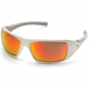 Pyramex SW5655D Goliath Safety Glasses - White Frame - Red Mirror Lens