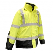 Radians SJ410B-3ZGS Class 3 Three-In-One Weatherproof Parka - Yellow/Lime