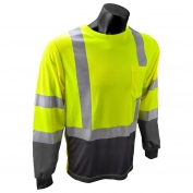 Radians ST21B Class 3 Black Bottom Wicking Birdseye Mesh Safety Shirt - Yellow/Lime