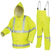 River City 2083SR Luminator 3-Piece Rain Suit - 0.38mm PVC/Polyester/PVC - Yellow/Lime