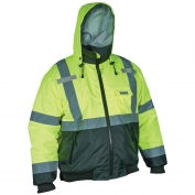 River City VBBCL3L Luminator Value Class 3 Black Bottom Bomber Jacket - Yellow/Lime