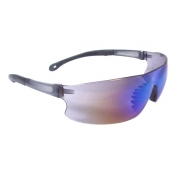 Radians Rad-Sequel Safety Glasses - Smoke Temple Tips - Blue Mirror Lens