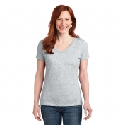 Hanes S04V Ladies Nano-T Cotton V-Neck T-Shirt - Ash