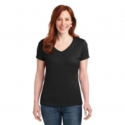 Hanes S04V Ladies Nano-T Cotton V-Neck T-Shirt - Black