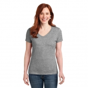 Hanes S04V Ladies Nano-T Cotton V-Neck T-Shirt - Light Steel