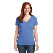 Hanes S04V Ladies Nano-T Cotton V-Neck T-Shirt - Vintage Blue