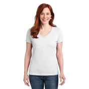 Hanes S04V Ladies Nano-T Cotton V-Neck T-Shirt - White