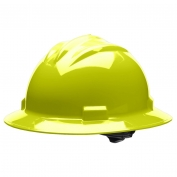 Bullard S71HYR Standard Full Brim Hard Hat - Ratchet Suspension - Hi-Viz Yellow