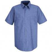 Red Kap SB22BS Men's Industrial Stripe Broadcloth Work Shirt - Short Sleeve