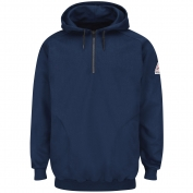 Bulwark FR SEH8NV Pullover Hooded Fleece Sweatshirt with 1/4 Zip - Cotton/Spandex Blend