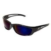 Edge SK-XL118 Kazbek XL Safety Glasses - Black XL Frame - Blue Mirror Lens