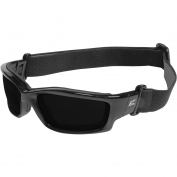 Edge SK116-SP Kazbek Safety Glasses/Goggles - Black Frame & Strap - Smoke Vapor Shield Lens