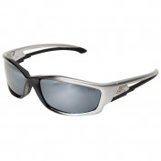 Edge SK117 Kazbek Safety Glasses - Black/Silver Frame - Silver Mirror Lens