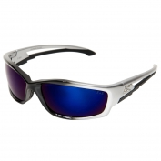 Edge SK118 Kazbek Safety Glasses - Black/Silver Frame - Blue Mirror Lens
