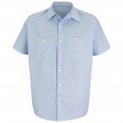 Red Kap SL20 Men's Industrial Stripe Mock Oxford Work Shirt - Short Sleeve