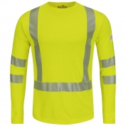 Bulwark FR SMK2HV Men's Hi-Visibility Long Sleeve T-Shirt - Power Dry - 8.75 oz.