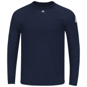 Bulwark FR SMT4NV Men's Long Sleeve Tagless T-shirt - Power Dry FR - 8.75oz.