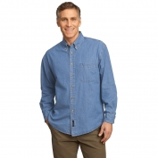 Port & Company SP10 Long Sleeve Value Denim Shirt - Faded Blue