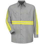 Red Kap SP14 Enhanced Visibility Industrial Work Shirt - Long Sleeve - Light Grey