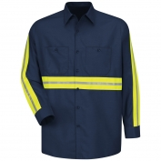Red Kap SP14 Enhanced Visibility Industrial Work Shirt - Long Sleeve - Navy