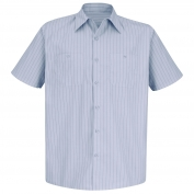 Red Kap SP20 Men's Industrial Stripe Poplin Work Shirt - Short Sleeve